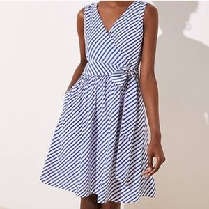 Loft Sleeveless Stripe Flare Dress 2P